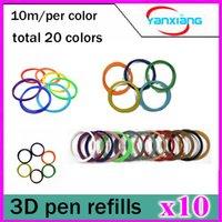 Cheap 10pcs PLA 3D Printer Accessories Filament 1.75mm 10M 20 Color Sample Pack 3D Pen Filament Refills YX-CL-01