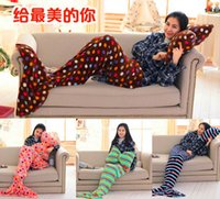 Wholesale Adult kids Fashion Flannel Mermaid Tail Blanket Super Soft Warmer Blanket Sleeping Costume Air condition Knit Blanket with Fish scales