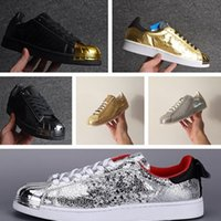 Wholesale Superstar s Metal Black Gold Top Leather Sneakers Men s and Women s Fashion Casual Shoes Trainers Couples Outdoor Sports Shoes Size