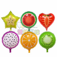 Wholesale 2016 New Arrive pcs18 inch cartoon fruit Foil balloons baby room decor supplies strawberry orange pitaya kiwi balloon Globos