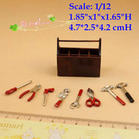Wholesale Scale Dollhouse Miniatures Tool Box Set Pinchers Hammer Store Decor Doll house room decor