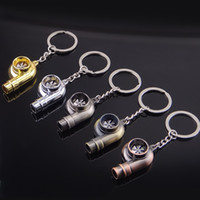 Wholesale Real Whistle Sound Turbo Keychain Sleeve Bearing Spinning Auto Part Model Turbine Turbocharger Key Chain Ring Keyfob Keyring DHL free ship