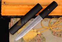 abrasive blades - Traditional Folded Steel Abrasive Polish Sharp Blade Chinese Sword JIAN CLAY TEMPERED Ebony OX Horn Saya