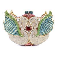 Wholesale latest design ladies purse swan shape elegant wedding clutch bag rhinestone crystal clutch bag A G2