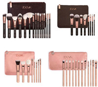 Wholesale 2016 ZOEVA Rose Golden Complete Set Makeup Brushes Styles with Leather Package Face Eye Brushes Daily Cosmetics Brushes