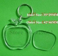 apple picture frames - Apple Shaped Transparent Blank Insert Photo Picture Frame Key Ring Split keychain