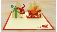 Wholesale New Creative Kirigami Origami D Pop UP Greeting Gift Christmas Cards with Santa Claus