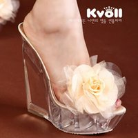 Cheap Women sandals, slippers new Kvoll women 2016 transparent super high heels shoes Wedges resin, in the form of female flower shoes