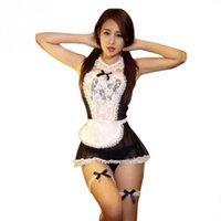 Wholesale New Sexy Lady Costume Cosplay French Maid Lingerie Outfit Fancy Dress Black