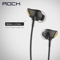 Wholesale ROCK Brand In Ear Zircon Stereo Headphone Headset mm Luxury earphone Earbuds For iPhone Samsung With Mic clear bass