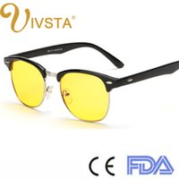 animal rims - IVSTA Fashion wood grain brush Anti Blue Rays Fatigue Gaming Men Half Rim Frame Yellow Lenses Computer Glasses women game