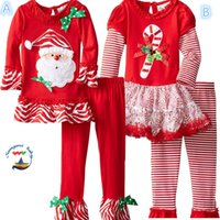baby holiday outfits - DHL children holidays clothes winter baby girls outfits kids christmas chevron stripe Tshirt tops trousers girl s X mas suit