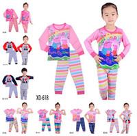 peppa pig clothing - 16Styles Children Clothing Set Peppa Cartoon Pig Tshirts Top Pants Suits Boys Girls Pajamas Set Pyjamas Kids Clothes High Quality