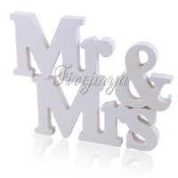 Wholesale White Color Mr Mrs Wooden Letters Wedding Top Table Sign Gift Wedding Props Decorations Wooden Standing Present Wedding Supply New