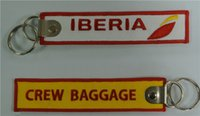Wholesale Iberia Logo Crew Baggage Personalized Embroidered Key Chains x30mm
