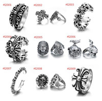 Wholesale 2016 new punk style flower appendix cross ring Retro personality skull ring opening men Christmas popular Jewelry outlets E152