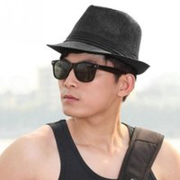 Wholesale Fashion Cool Unisex Summer Beach Trilby Fedora Straw Panama Wide Brim Beach Cap Sun Hat QJ
