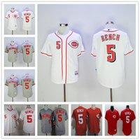Men bench for sale - Throwback Cincinnati Reds Johnny Bench Retro Cooperstown Vintage Mens Baseball Jerseys White Red Gray For Sale
