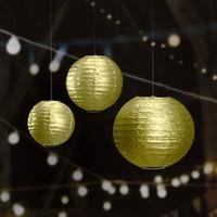 Cheap 20CM(Metalick Gold Silver) Paper Lanterns for Wedding Fiesta Garden Hanging Decor Home Cheap Round Metal Frame Lantern for New Year PLgs-20