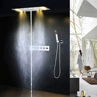 polish bathroom contemporary lighting - hotel bathroom accessories led light mm rainfall waterfall misty water column bath shower mixer set with thermostatic valve