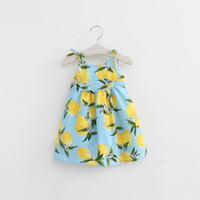 Summer american girl braces - 2016 summer kids dresses full lemon print braces skirts boutique girls fruit print slip dresses yellow blue for years