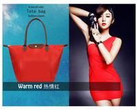 Wholesale DHL Nylon WaterProof Colorful Handbag Long Handle Tote Large Foldable Shopping Bag Dumplings Reusable Cloth Bags Size cm x30cm