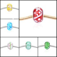 Wholesale European Beads Epoxy Flower Big Holes Glass Beads DIY Bracelets and Necklace Accessories Glass Beads Jewelry