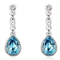 artificial gold jewellery - JS E074 Turquoise Water Drop Women Earrings Nickel Free Artificial Jewellery Best Seller Fashion Crystal Dangle Earrings