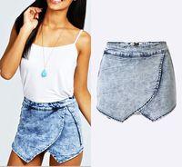 Compra Faldas de jean-Mujeres Mini Sexy Alta Cintura Señoras Nueva Demin Jeans Shorts Faldas Lavado Jean Denim Faded Calientes pantalones cortos más tamaño EG6319