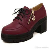 Cheap College Wind Lace Up Chunky Heel Ankle Boots Women Casual Shoes Platform Round Toe Comfortable Autumn Boots 15 to 18
