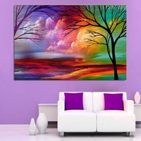 Wholesale handpainted HotSell Modern Wall Painting Home Decorative Art Picture Paint Canvas colorful tree sky landscape oil painting