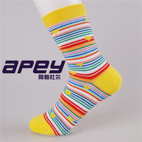 ankle pads - Candy Cute Children Socks Cotton Kids Breathable Rainbow Socks Striped Knee Pad sock Mixed Color socks