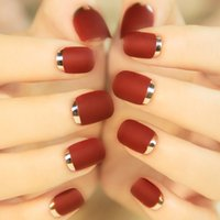 Wholesale 2016 Hot Sale PcsBordeaux Metal Frosted Short False Nail Turnover French Style Full Finished Matte Artificial Nails Tips