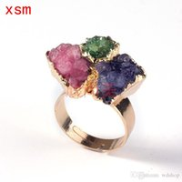 Wholesale Natural Crystal Druzy Adjustable Ring K Gold Plated Bezel Ring Fashion Irregular Crystal Rings For Women Party Wear jewelry