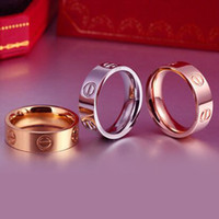 Wholesale Hot Sale mm Women s Stainless Steel Love Ring Screw Engagement WeddingBand Rings For Man Women Gold Screw Rings