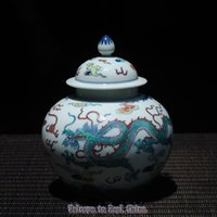 art caddy - Hand Paint Constracting Colors Two Dragons Delicate Ceramic Tea Caddy REAL CHINA Full Manual Antique Porcelain Qing Dynaty Yong Zheng Period