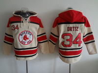 baseball number - Boston Red Sox Mens Sweaters David Ortiz Red Baseball Hoodies Jersey Stitched Name Number and Logos