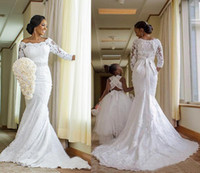 africa t shirt - Vintage Scoop Lace Long Sleeve Mermaid Wedding Dresses Africa Beaded Sash Bow Long Bridal Gowns Custom Made Plus Size EN71114