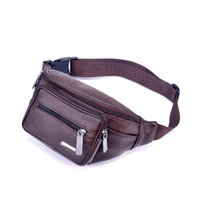 Wholesale Vintage Men Waist Pack Genuine Leather Travel Hiking Waist Pouch Chest Pack Running Sport Fanny Pack Crossbody Bag Man Bag