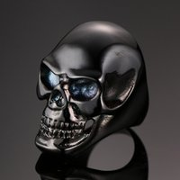 Wholesale Factory direct sale Vintage EuropeStyle Punk titanium steel Skull Rings D men s Skeleton ring