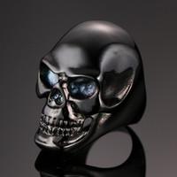 Wholesale Factory direct sale Vintage EuropeStyle Punk titanium steel Skull Rings D men s Skeleton ring