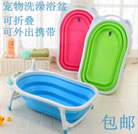bathing basin - The new pet cat dog bath bath tub folding basin Dog Bag mail