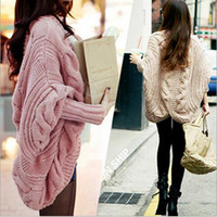 Wholesale New Knitted Sweater Cardigan Batwing Sleeve Cape Outwear Fashion Women Autumn Casual Loose Wool Tops Shawl Sweaters LGC3