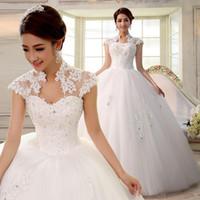 Cheap 2016 double-shoulder slim slit neckline bag lace strap married bride Wedding Dresses