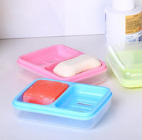 Wholesale hot sale portable soap dishes travel home plastic soap box layer cover container Creative Double draining soap holder Non slip Soap dish