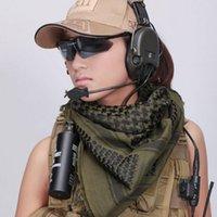 arab head scarves - 110 cm Army Military Tactical Arab Shemagh KeffIyeh Cotton Shawl Scarves Hunting Paintball Head Scarf Face Mesh Desert Bandanas PPA560