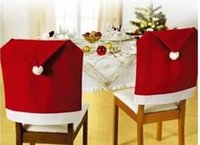 Wholesale Hot sale Santa Claus Clause Hat Chair Covers for Christmas Dinner Decor Christmas Decorations Home Party Holiday