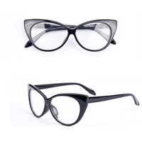 Wholesale 2016 Brand New Designer Cat Eye Glasses Gafas Retro Fashion Black Women Glasses Frame Clear Lens Vintage Eyewear