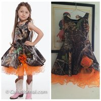 adorn sleeveless - Real Photos A Line Camo Flower Girls Dresses Handmade Flowers Adorned Camouflage Formal Kids Children Wear Tea Length Cheap