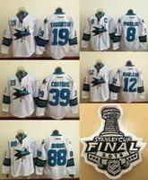 Wholesale 2016 San Jose Sharks Stanley Cup Mens Ice Hockey Jersey Brent Burns Joe Pavelski Patrick Marleau Joe Thornton White